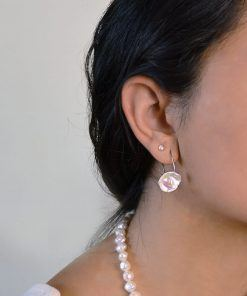 spiral stainless steen earrings with keshi pearls on model