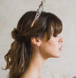 profile bride picture with sterling silver lavender earrings