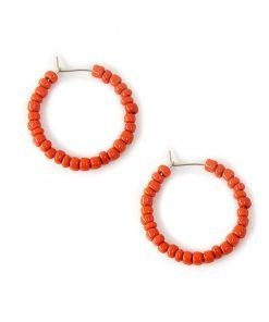 Vesta coral hoop earrings