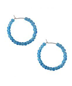 Vesta transparent blue hoop earrings