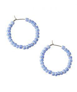 Vesta white with blue lines hoop earrings