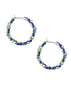 Vesta white with blue and green hoop earrings