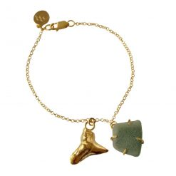Gold-plated sterling silver bracelet set with sea glass and silver pendant.