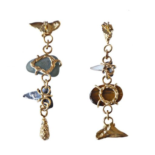 Gold-plated sterling silver unequal earrings set with fossil shark teeth, sea glass and tiger's eye gem.