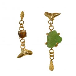 Gold-plated sterling silver unequal earrings set with sea glass and tiger's eye gem