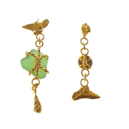 Gold-plated sterling silver unequal earrings set with sea glass and tiger's eye gem.