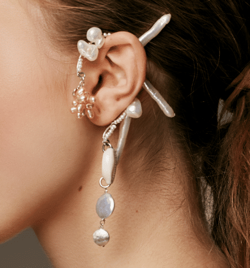 ear cuff pearls keshi coin stick sterling silver contemporary jewelry