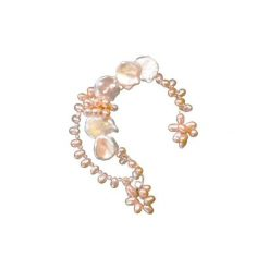 ear cuff with keshi and pink pearls