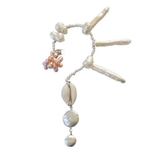 Earcuff of cultured pearls of various shapes and colors set in sterling silver wire