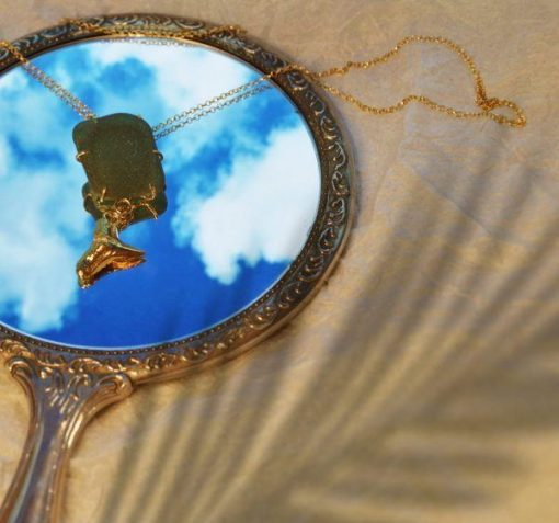 Necklace in gold OOAK with mirror. Gold-plated sterling silver necklace set with sea glass and silver pendant in mirror with shadow.