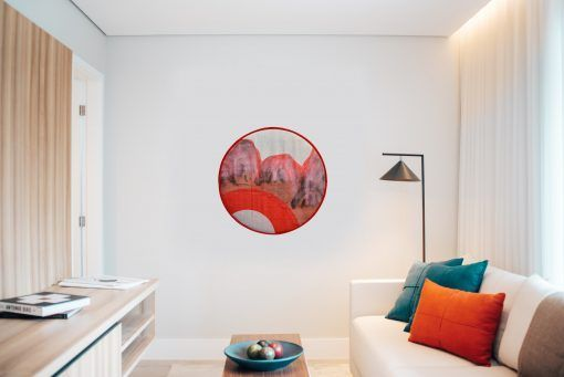 tondo montañas I on room wall