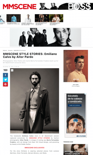 Preview Editorial in MMScene magazine of male models, with artistic jewelry by Myriam Moreno.