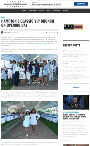 Preview New York Style Guide Myriam Moreno art and jewels was sponsor label in this event in The Hampton's VIP Brunch.