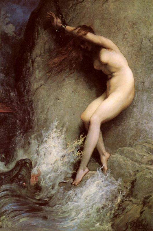 Paul Gustave Dore Andromeda  Andromeda chained to a rock by Gustave Doré (1832-1883).