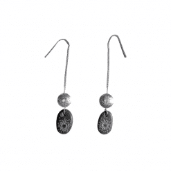 Sterling silver long chain earrings and hand carved sea pebbles found in Mediterranean beaches